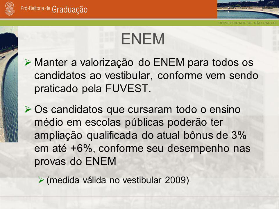 ENEM  Manter a valorização do ENEM para todos os candidatos ao vestibular, conforme vem sendo praticado pela FUVEST.