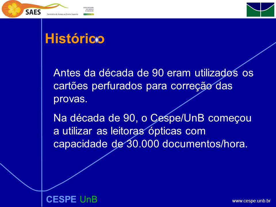 www.cespe.unb.br Histórico CESPE UnB Antes da década de 90 eram utilizados os cartões perfurados para correção das provas.