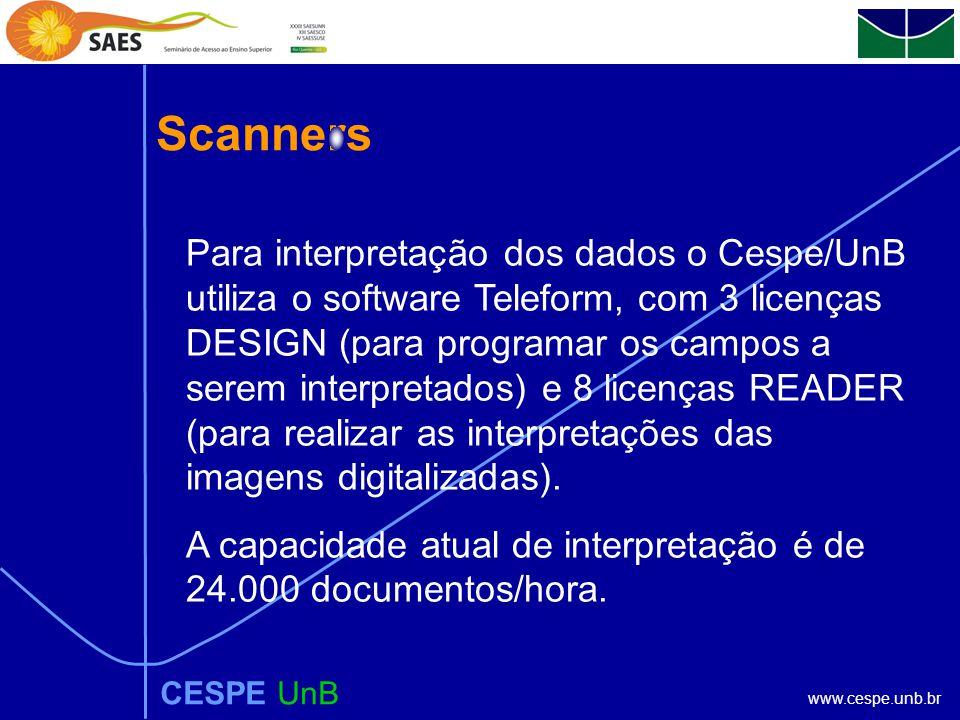 www.cespe.unb.br Scanners CESPE UnB Para interpretação dos dados o Cespe/UnB utiliza o software Teleform, com 3 licenças DESIGN (para programar os campos a serem interpretados) e 8 licenças READER (para realizar as interpretações das imagens digitalizadas).