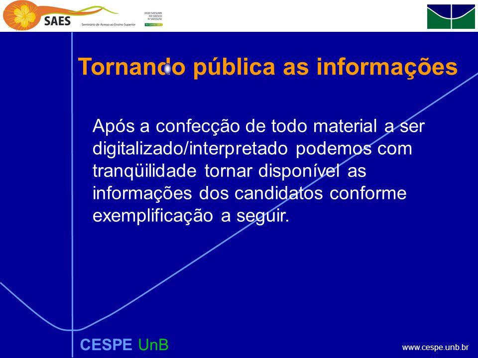 www.cespe.unb.br Tornando pública as informações CESPE UnB Após a confecção de todo material a ser digitalizado/interpretado podemos com tranqüilidade tornar disponível as informações dos candidatos conforme exemplificação a seguir.
