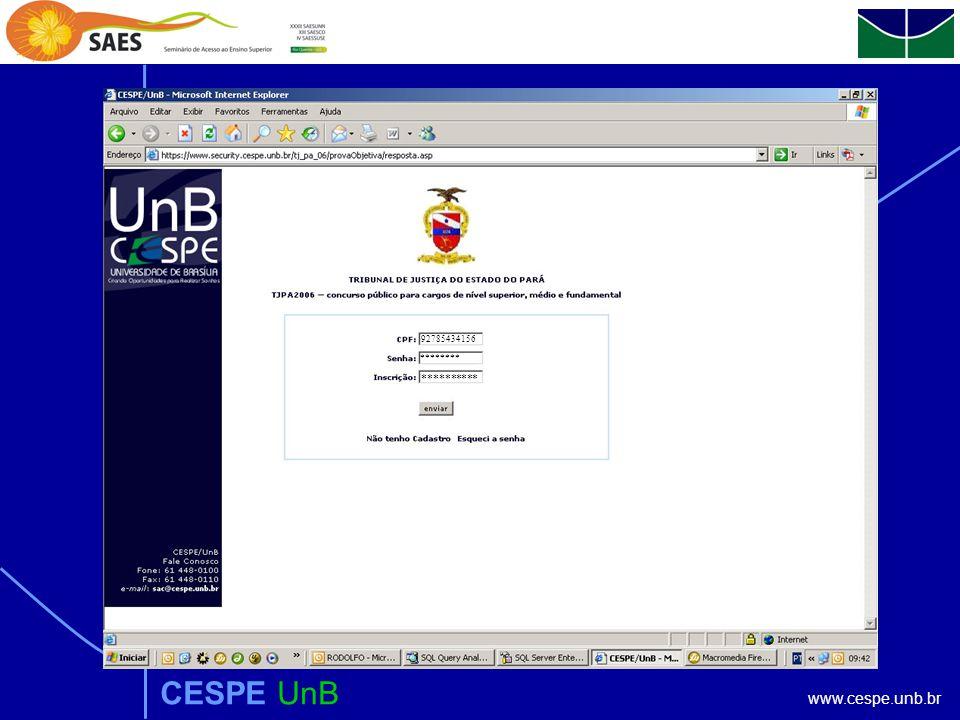 www.cespe.unb.br CESPE UnB 92785434156 ********** ********
