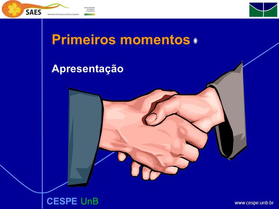 www.cespe.unb.br Primeiros momentos CESPE UnB Apresentação