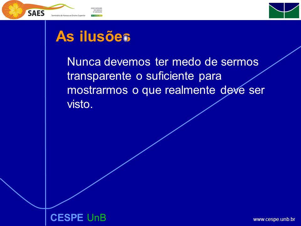 www.cespe.unb.br As ilusões CESPE UnB Nunca devemos ter medo de sermos transparente o suficiente para mostrarmos o que realmente deve ser visto.
