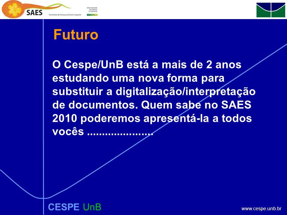 www.cespe.unb.br CESPE UnB O Cespe/UnB está a mais de 2 anos estudando uma nova forma para substituir a digitalização/interpretação de documentos.