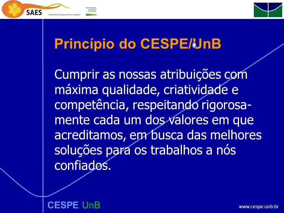 www.cespe.unb.br CESPE UnB Princípio do CESPE/UnB Cumprir as nossas atribuições com máxima qualidade, criatividade e competência, respeitando rigorosa- mente cada um dos valores em que acreditamos, em busca das melhores soluções para os trabalhos a nós confiados.