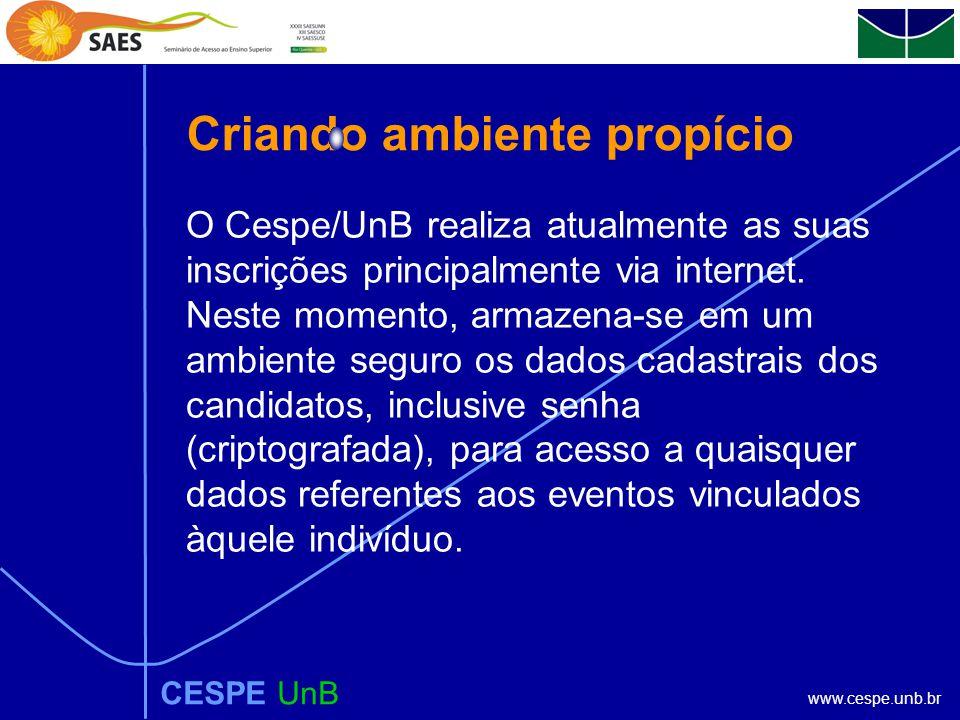 www.cespe.unb.br CESPE UnB Propósito do CESPE/UnB Elevar o nível de consciência da sociedade, por meio da disseminação da cultura e do conhecimento, d