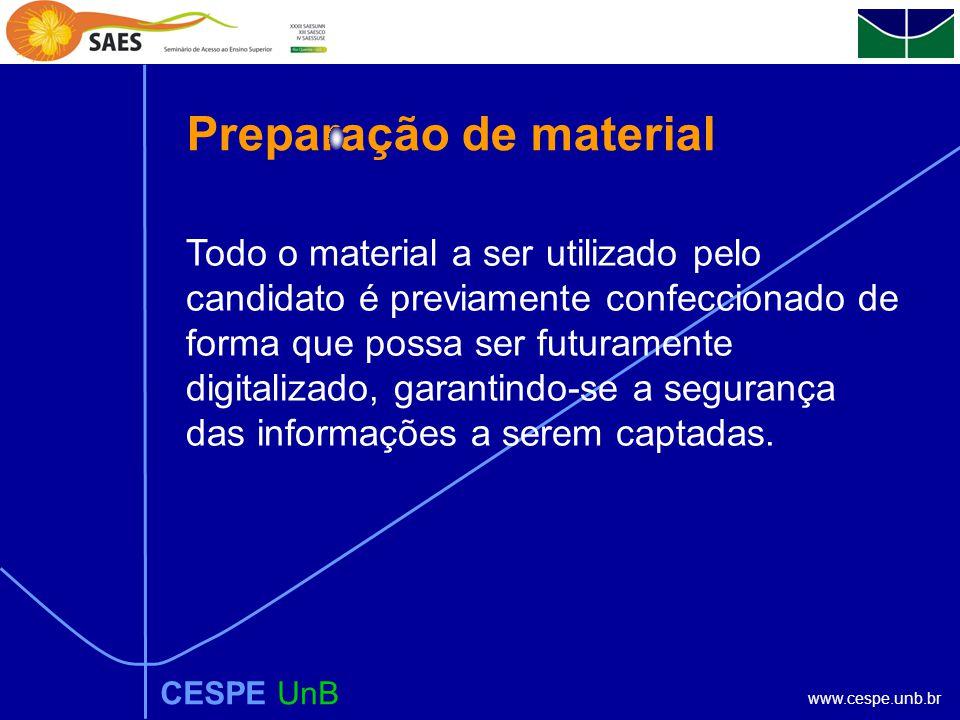 www.cespe.unb.br Preparação de material CESPE UnB Todo o material a ser utilizado pelo candidato é previamente confeccionado de forma que possa ser futuramente digitalizado, garantindo-se a segurança das informações a serem captadas.