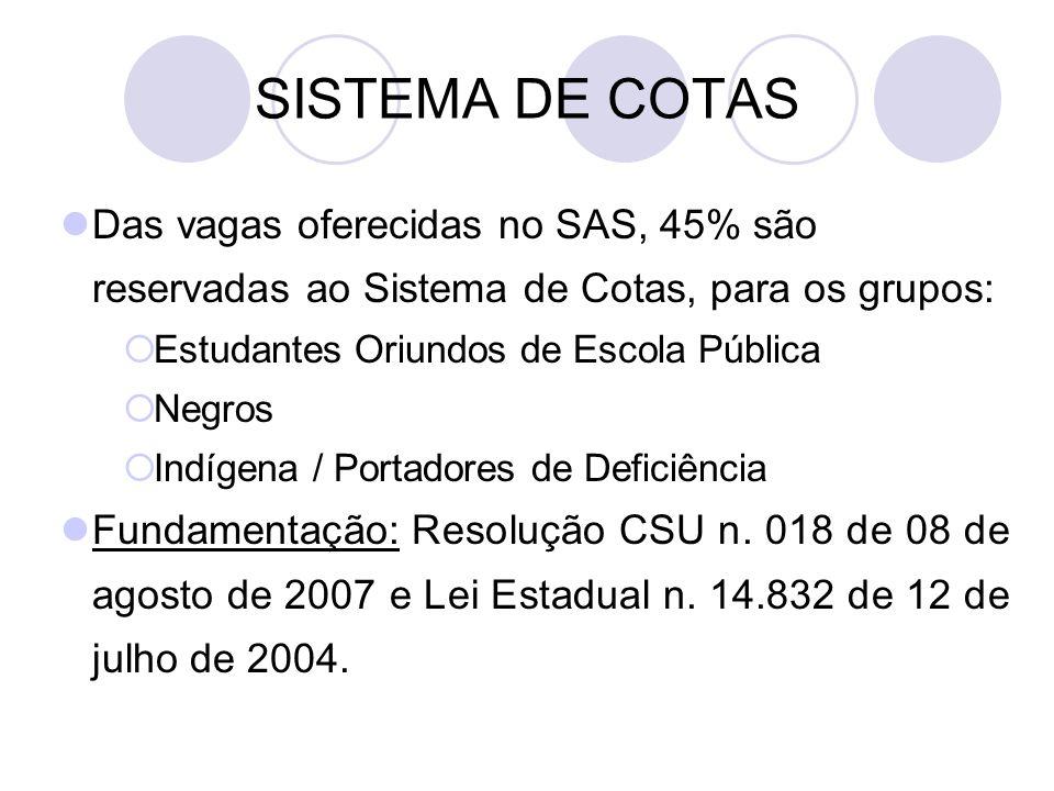 SISTEMA DE COTAS Das vagas oferecidas no SAS, 45% são reservadas ao Sistema de Cotas, para os grupos:  Estudantes Oriundos de Escola Pública  Negros  Indígena / Portadores de Deficiência Fundamentação: Resolução CSU n.