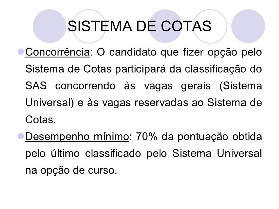 SISTEMA DE COTAS Concorrência: O candidato que fizer opção pelo Sistema de Cotas participará da classificação do SAS concorrendo às vagas gerais (Sistema Universal) e às vagas reservadas ao Sistema de Cotas.