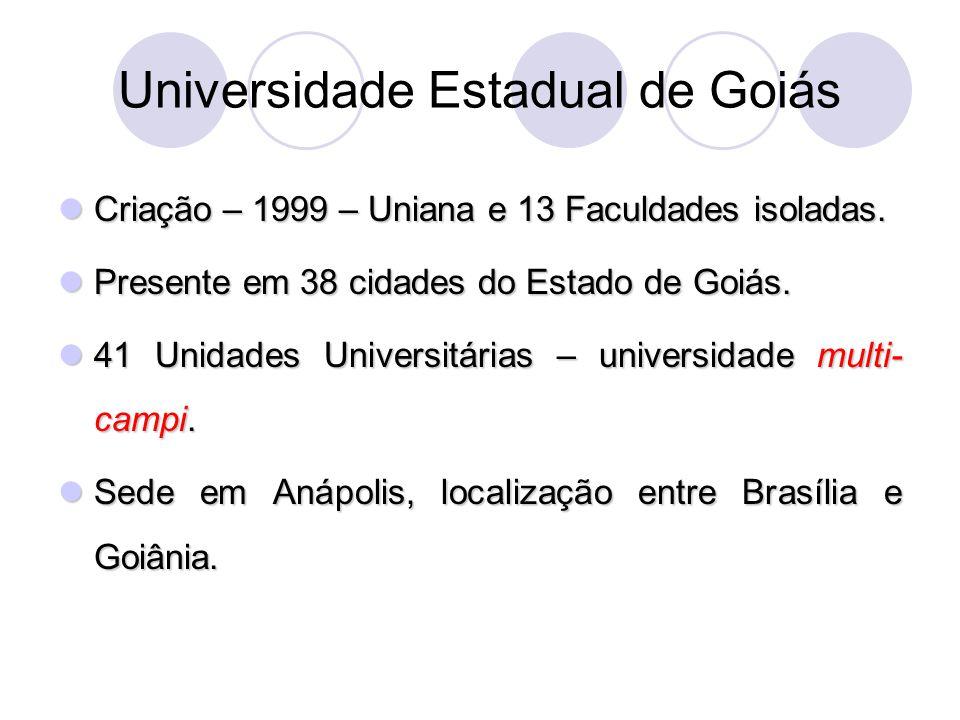Universidade Estadual de Goiás Criação – 1999 – Uniana e 13 Faculdades isoladas. Criação – 1999 – Uniana e 13 Faculdades isoladas. Presente em 38 cida