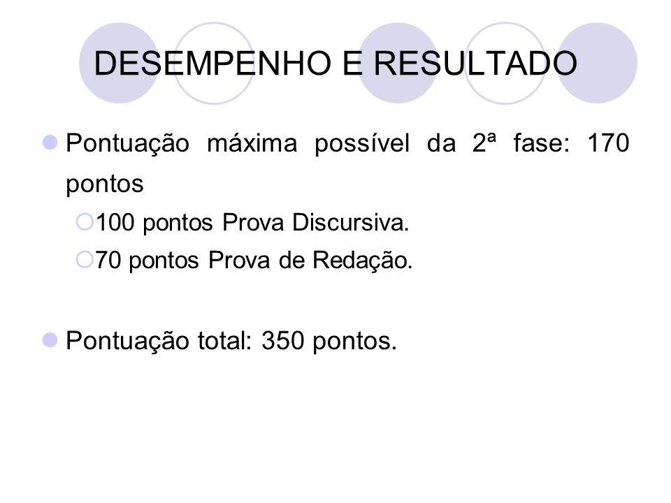 DESEMPENHO E RESULTADO Pontuação máxima possível da 2ª fase: 170 pontos  100 pontos Prova Discursiva.