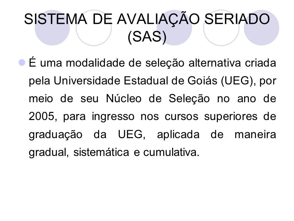 SISTEMA DE AVALIAÇÃO SERIADO (SAS) É uma modalidade de seleção alternativa criada pela Universidade Estadual de Goiás (UEG), por meio de seu Núcleo de