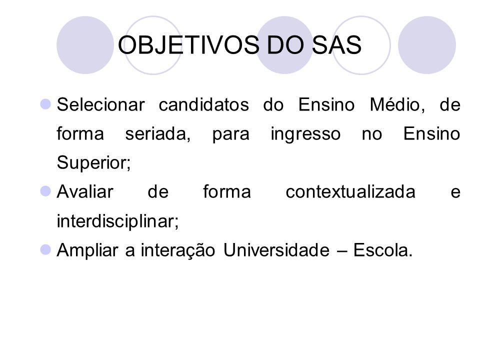 OBJETIVOS DO SAS Selecionar candidatos do Ensino Médio, de forma seriada, para ingresso no Ensino Superior; Avaliar de forma contextualizada e interdisciplinar; Ampliar a interação Universidade – Escola.