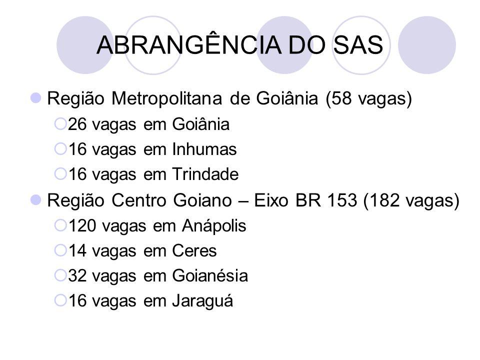 ABRANGÊNCIA DO SAS Região Metropolitana de Goiânia (58 vagas)  26 vagas em Goiânia  16 vagas em Inhumas  16 vagas em Trindade Região Centro Goiano – Eixo BR 153 (182 vagas)  120 vagas em Anápolis  14 vagas em Ceres  32 vagas em Goianésia  16 vagas em Jaraguá