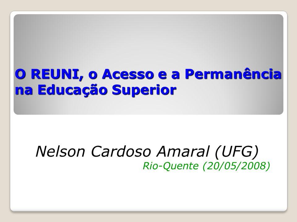 O REUNI, o Acesso e a Permanência na Educação Superior Nelson Cardoso Amaral (UFG) Rio-Quente (20/05/2008)