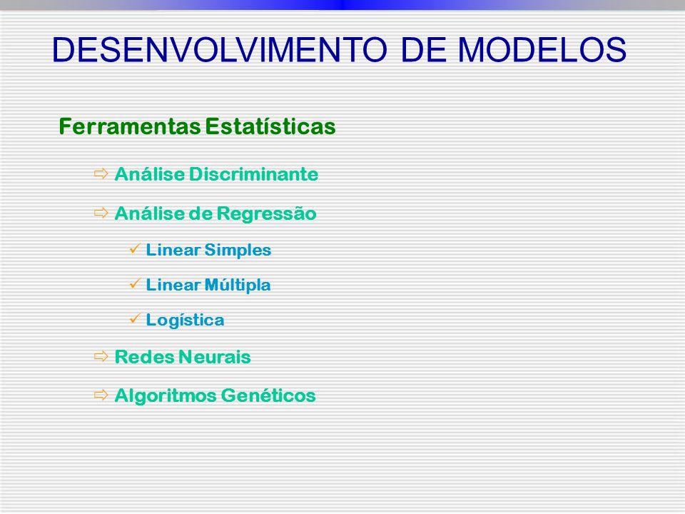 Ferramentas Estatísticas  Análise Discriminante  Análise de Regressão Linear Simples Linear Múltipla Logística  Redes Neurais  Algoritmos Genéticos DESENVOLVIMENTO DE MODELOS
