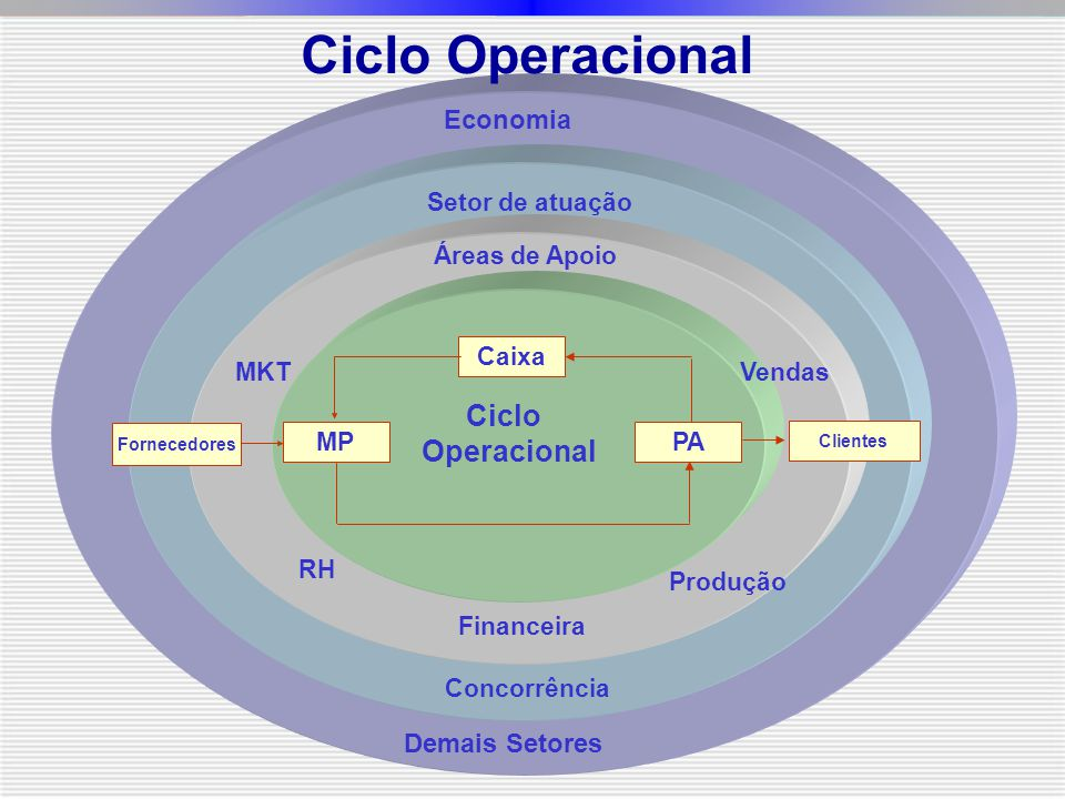 Caixa MPPA Ciclo Operacional Fornecedores Clientes Áreas de Apoio Setor de atuação Concorrência Economia Demais Setores RH Financeira Produção VendasMKT Ciclo Operacional