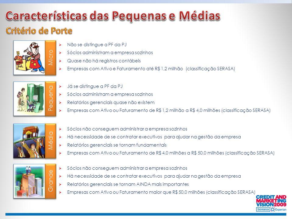 Micro Pequena Média Grande  Não se distingue a PF da PJ  Sócios administram a empresa sozinhos  Quase não há registros contábeis  Empresas com Ati