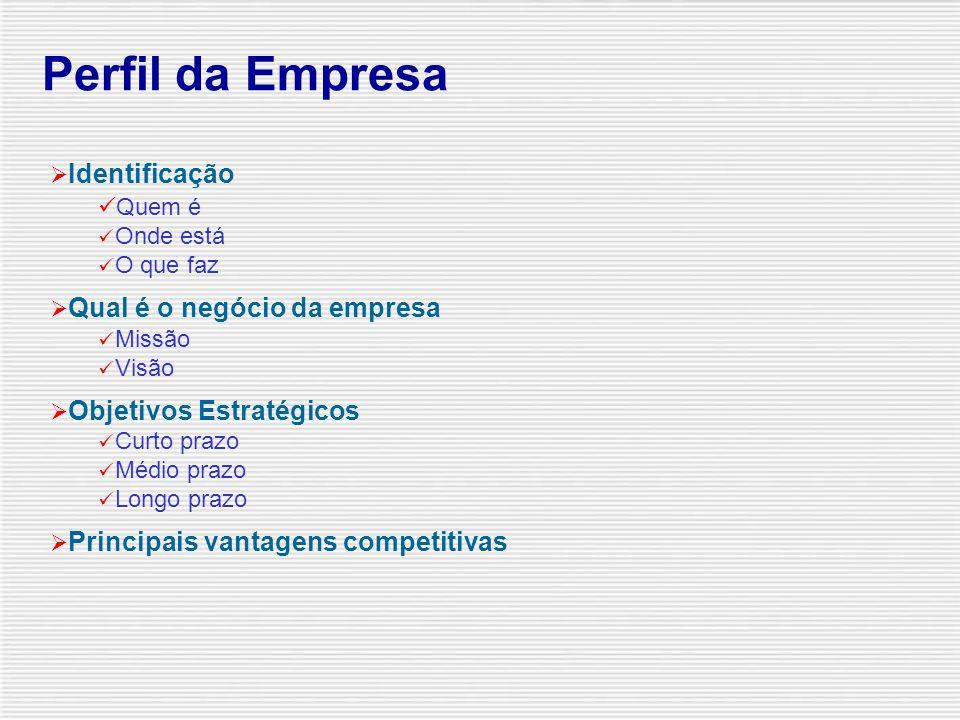  Perfil da Empresa  Breve histórico  Administração  Grupo econômico  Processo Produtivo Matéria-prima Processo produtivo Produtos  Comercializaç