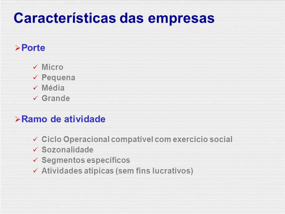  Porte Micro Pequena Média Grande  Ramo de atividade Ciclo Operacional compatível com exercício social Sozonalidade Segmentos específicos Atividades atípicas (sem fins lucrativos) Características das empresas