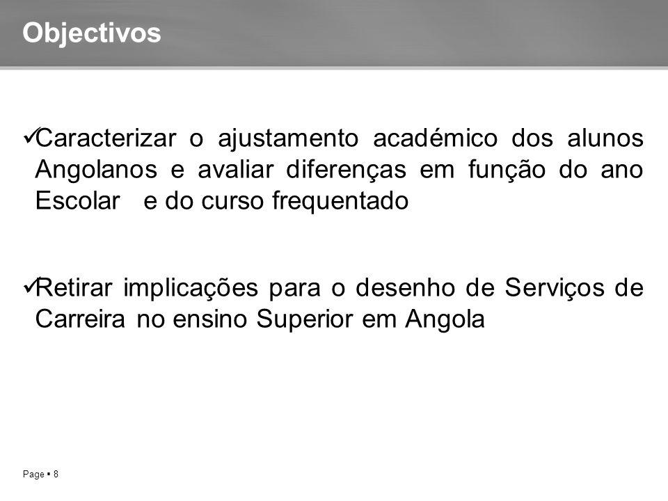 Page  8 Objectivos Caracterizar o ajustamento académico dos alunos Angolanos e avaliar diferenças em função do ano Escolar e do curso frequentado Retirar implicações para o desenho de Serviços de Carreira no ensino Superior em Angola