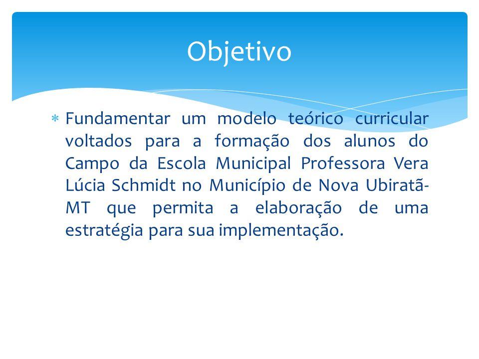  Fundamentar um modelo teórico curricular voltados para a formação dos alunos do Campo da Escola Municipal Professora Vera Lúcia Schmidt no Município