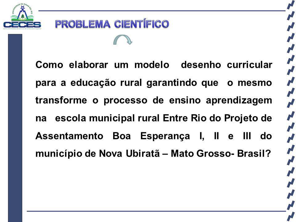 Como elaborar um modelo desenho curricular para a educação rural garantindo que o mesmo transforme o processo de ensino aprendizagem na escola municipal rural Entre Rio do Projeto de Assentamento Boa Esperança I, II e III do município de Nova Ubiratã – Mato Grosso- Brasil