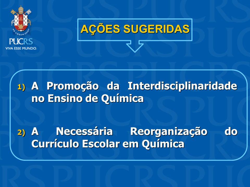 AÇÕES SUGERIDAS 1) A Promoção da Interdisciplinaridade no Ensino de Química 2) A Necessária Reorganização do Currículo Escolar em Química