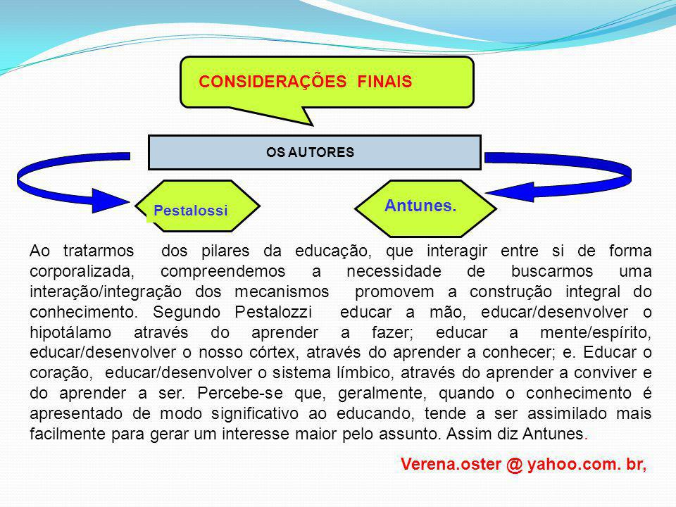 CONSIDERAÇÕES FINAIS OS AUTORES Pestalossi Antunes. Ao tratarmos dos pilares da educação, que interagir entre si de forma corporalizada, compreendemos