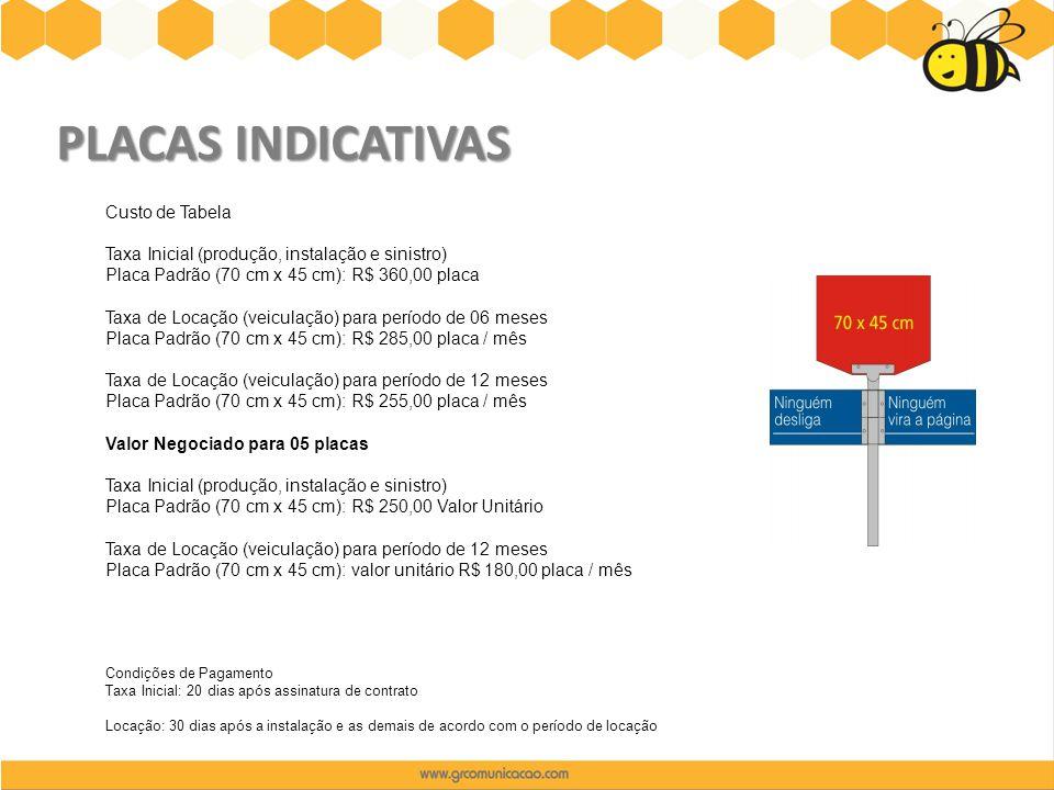PLACAS INDICATIVAS Custo de Tabela Taxa Inicial (produção, instalação e sinistro) Placa Padrão (70 cm x 45 cm): R$ 360,00 placa Taxa de Locação (veicu
