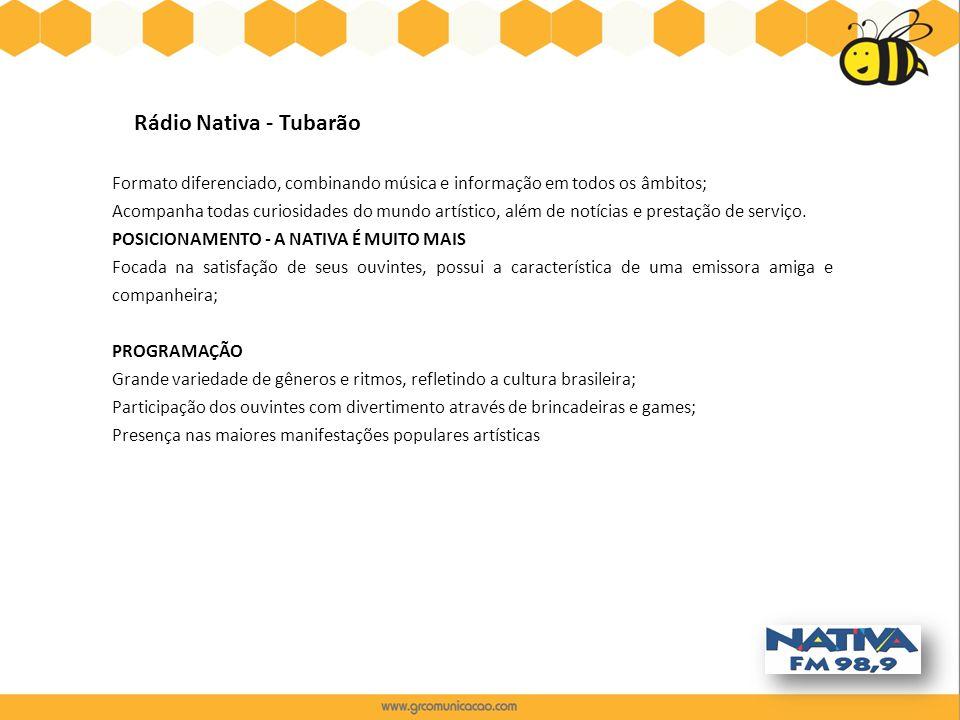 Rádio Nativa - Tubarão Formato diferenciado, combinando música e informação em todos os âmbitos; Acompanha todas curiosidades do mundo artístico, além
