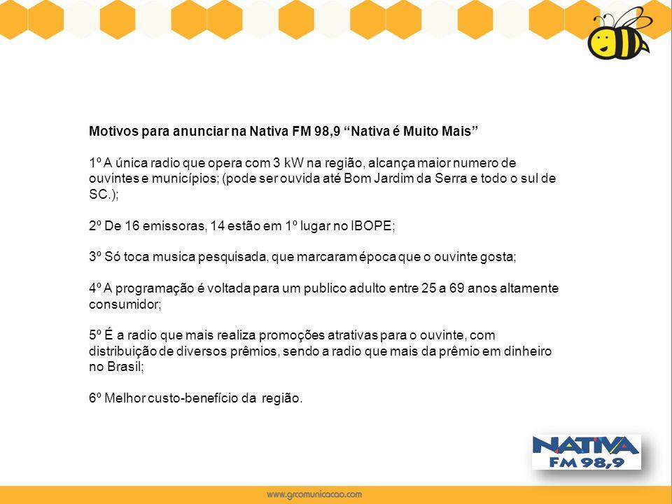 """Motivos para anunciar na Nativa FM 98,9 """"Nativa é Muito Mais"""" 1º A única radio que opera com 3 kW na região, alcança maior numero de ouvintes e municí"""