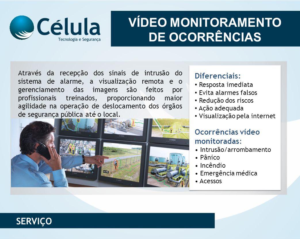 VÍDEO MONITORAMENTO DE OCORRÊNCIAS Através da recepção dos sinais de intrusão do sistema de alarme, a visualização remota e o gerenciamento das imagen