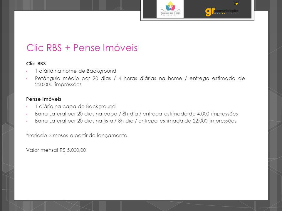 Clic RBS + Pense Imóveis Clic RBS 1 diária na home de Background Retângulo médio por 20 dias / 4 horas diárias na home / entrega estimada de 250.000 i