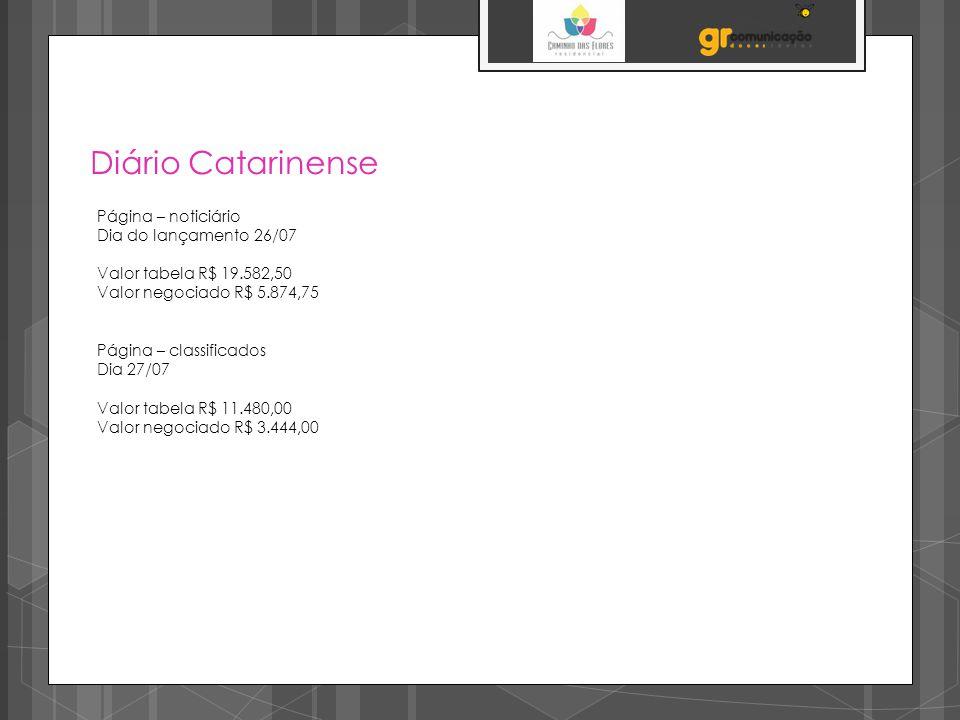 Diário Catarinense Página – noticiário Dia do lançamento 26/07 Valor tabela R$ 19.582,50 Valor negociado R$ 5.874,75 Página – classificados Dia 27/07 Valor tabela R$ 11.480,00 Valor negociado R$ 3.444,00