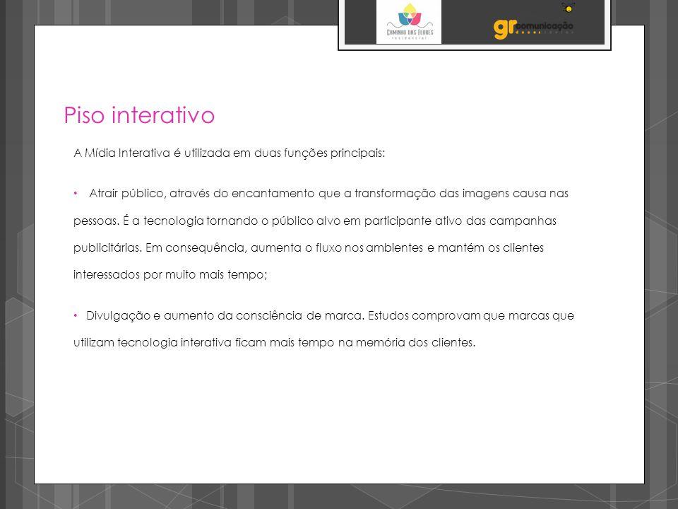 Piso interativo A Mídia Interativa é utilizada em duas funções principais: Atrair público, através do encantamento que a transformação das imagens causa nas pessoas.