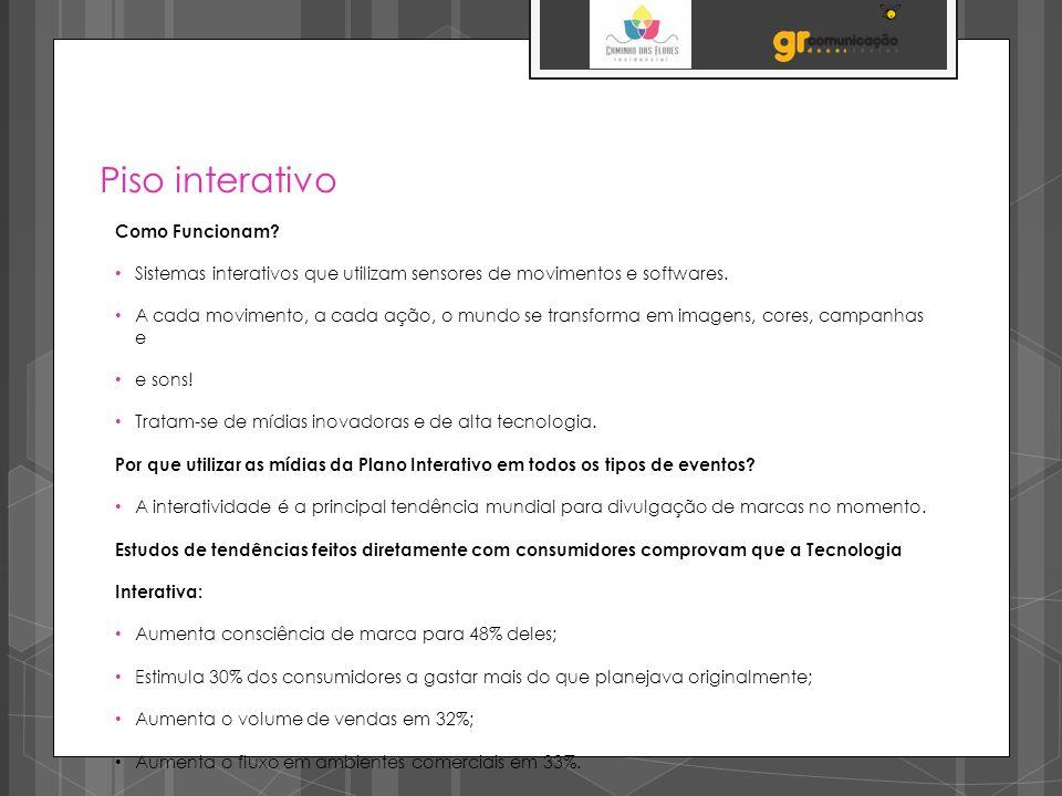 Piso interativo Como Funcionam? Sistemas interativos que utilizam sensores de movimentos e softwares. A cada movimento, a cada ação, o mundo se transf