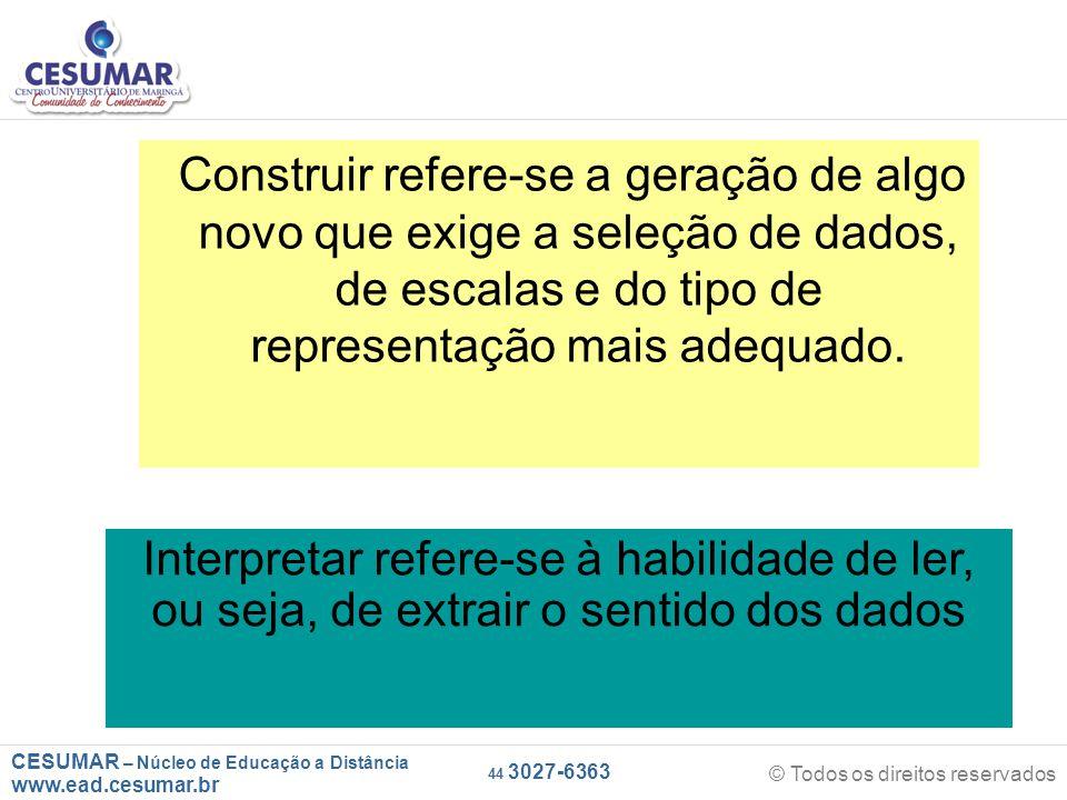 CESUMAR – Núcleo de Educação a Distância www.ead.cesumar.br © Todos os direitos reservados 44 3027-6363 Construir refere-se a geração de algo novo que exige a seleção de dados, de escalas e do tipo de representação mais adequado.