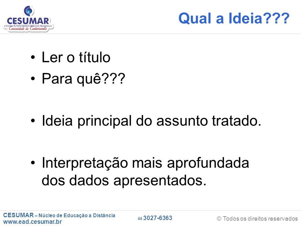 CESUMAR – Núcleo de Educação a Distância www.ead.cesumar.br © Todos os direitos reservados 44 3027-6363 Qual a Ideia .