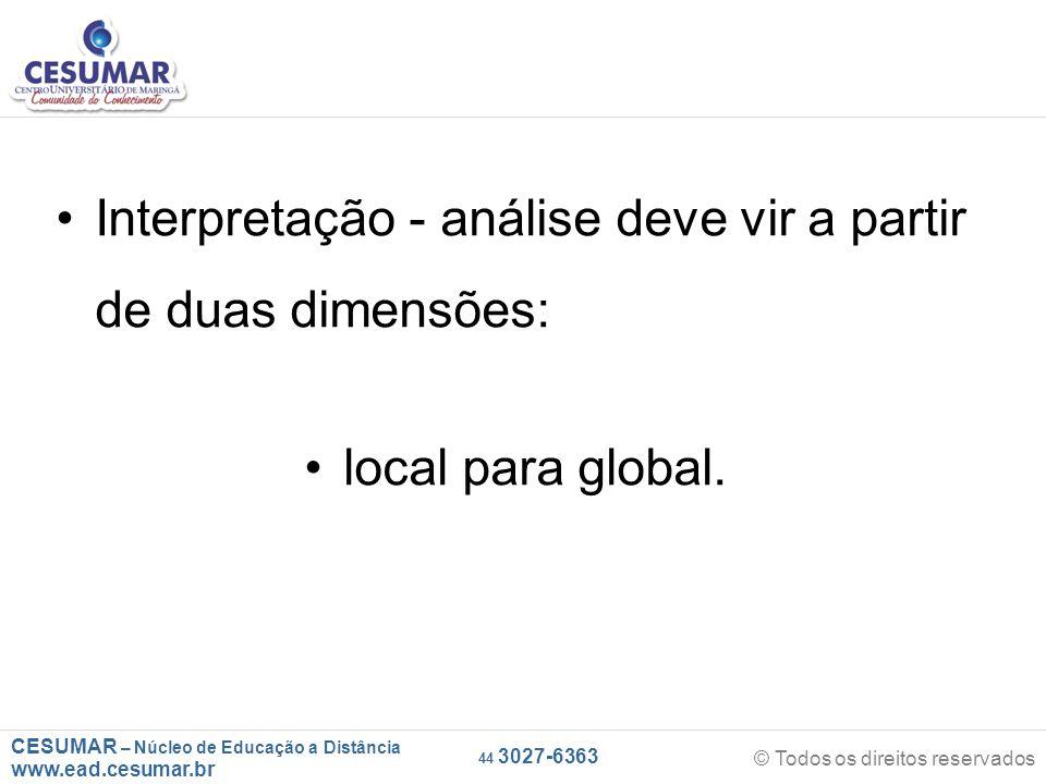 CESUMAR – Núcleo de Educação a Distância www.ead.cesumar.br © Todos os direitos reservados 44 3027-6363 Interpretação - análise deve vir a partir de duas dimensões: local para global.