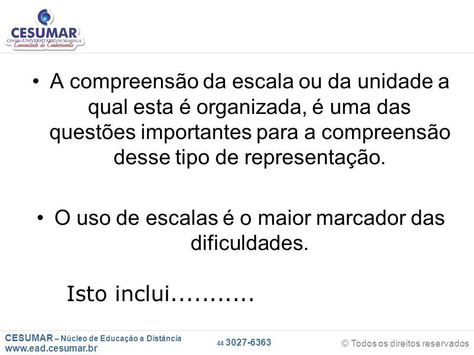 CESUMAR – Núcleo de Educação a Distância www.ead.cesumar.br © Todos os direitos reservados 44 3027-6363 A compreensão da escala ou da unidade a qual esta é organizada, é uma das questões importantes para a compreensão desse tipo de representação.
