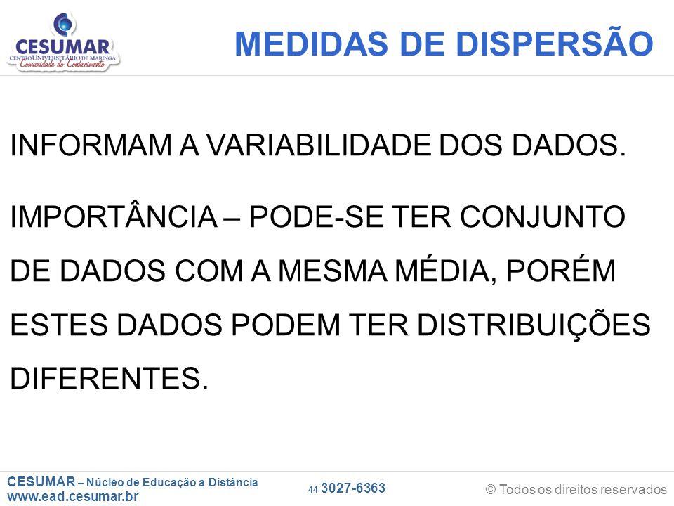 CESUMAR – Núcleo de Educação a Distância www.ead.cesumar.br © Todos os direitos reservados 44 3027-6363 MEDIDAS DE DISPERSÃO INFORMAM A VARIABILIDADE DOS DADOS.