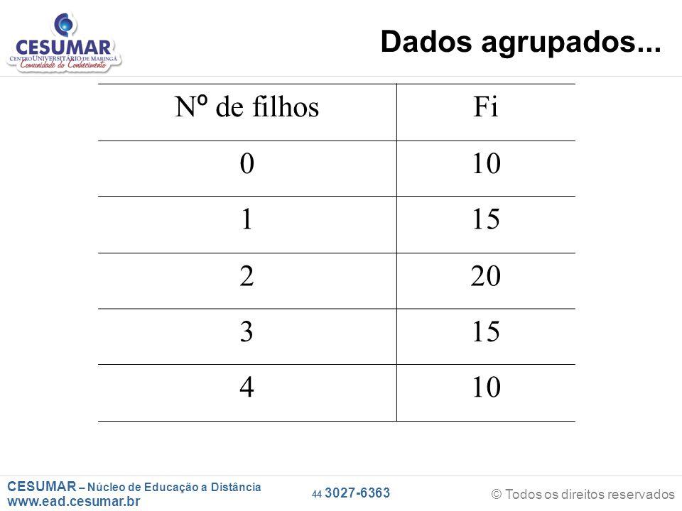 CESUMAR – Núcleo de Educação a Distância www.ead.cesumar.br © Todos os direitos reservados 44 3027-6363 Dados agrupados...