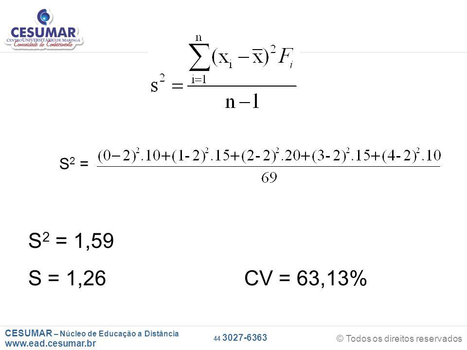 CESUMAR – Núcleo de Educação a Distância www.ead.cesumar.br © Todos os direitos reservados 44 3027-6363 S 2 = S 2 = 1,59 S = 1,26 CV = 63,13%