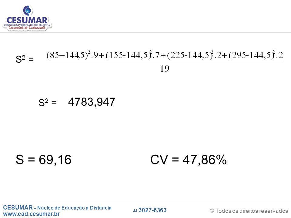 CESUMAR – Núcleo de Educação a Distância www.ead.cesumar.br © Todos os direitos reservados 44 3027-6363 S 2 = 4783,947 S = 69,16 CV = 47,86%