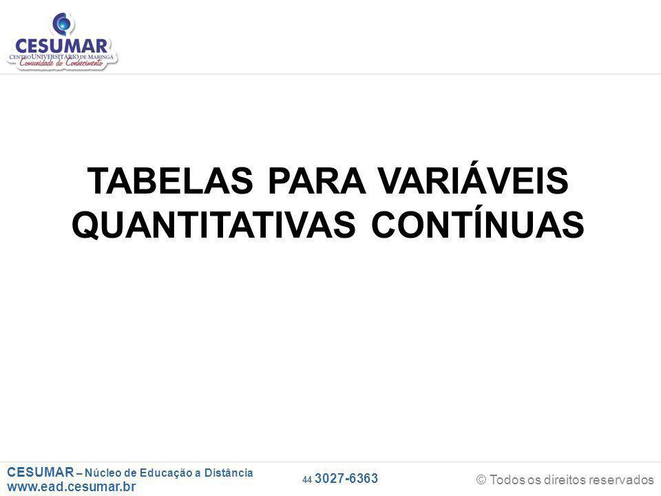 CESUMAR – Núcleo de Educação a Distância www.ead.cesumar.br © Todos os direitos reservados 44 3027-6363 TABELAS PARA VARIÁVEIS QUANTITATIVAS CONTÍNUAS
