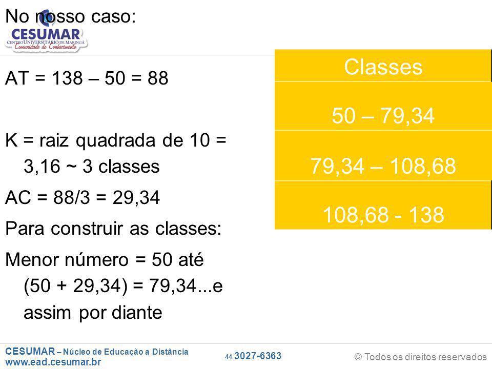 CESUMAR – Núcleo de Educação a Distância www.ead.cesumar.br © Todos os direitos reservados 44 3027-6363 No nosso caso: AT = 138 – 50 = 88 K = raiz quadrada de 10 = 3,16 ~ 3 classes AC = 88/3 = 29,34 Para construir as classes: Menor número = 50 até (50 + 29,34) = 79,34...e assim por diante Classes 50 – 79,34 79,34 – 108,68 108,68 - 138