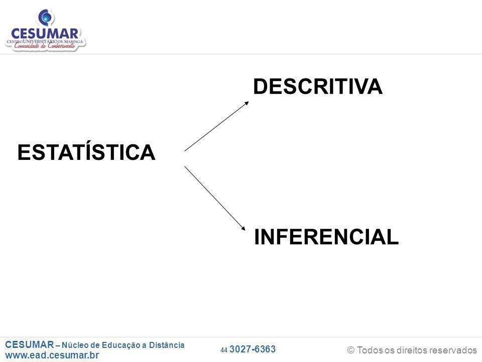 CESUMAR – Núcleo de Educação a Distância www.ead.cesumar.br © Todos os direitos reservados 44 3027-6363 ESTATÍSTICA DESCRITIVA INFERENCIAL