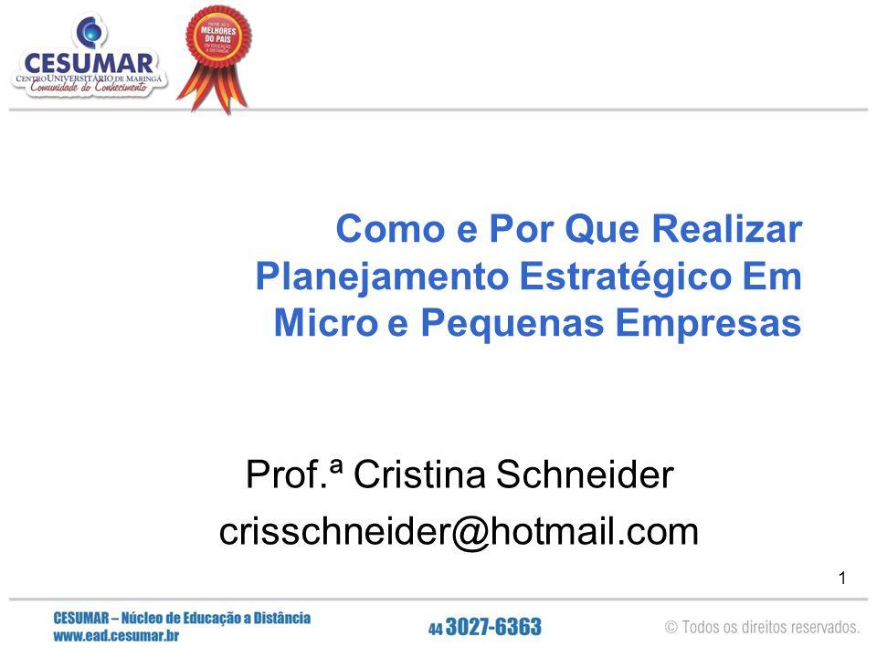 1 Como e Por Que Realizar Planejamento Estratégico Em Micro e Pequenas Empresas Prof.ª Cristina Schneider crisschneider@hotmail.com
