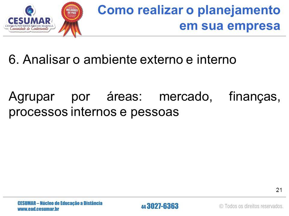 21 Como realizar o planejamento em sua empresa 6. Analisar o ambiente externo e interno Agrupar por áreas: mercado, finanças, processos internos e pes